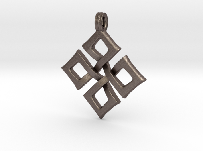 Simple Square Celtic Knot Cross Pendant 3d printed Stainless Steel Bronze Infused