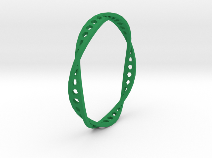 Twisted Hex Ring (Size 7) 3d printed