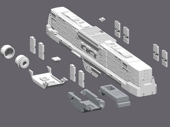 N Scale Alco C-855B Locomotive Shell 3d printed All kit Parts