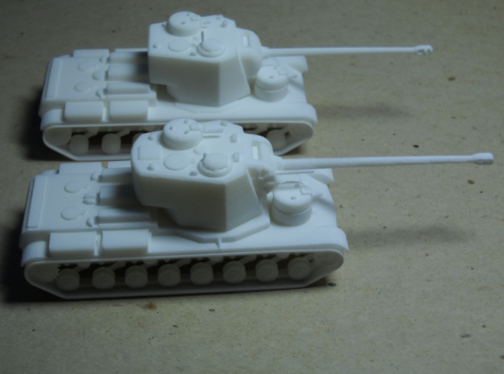 1/100 KVS 3d printed KVS and KV-5-122 in the background.  The periscope on the KVS was broken when I got it, but that's a good thing: it really should be retractable.