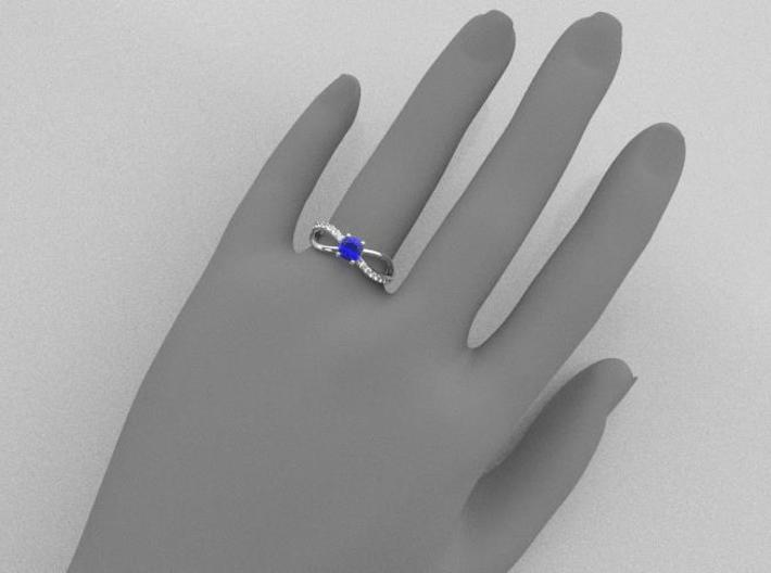 Split solitaire engagement ring 3d printed