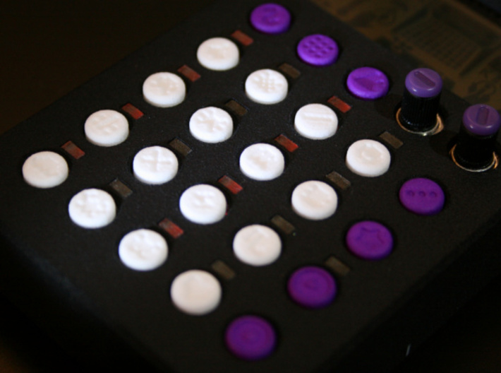 PO-20 sequencer buttons 3d printed