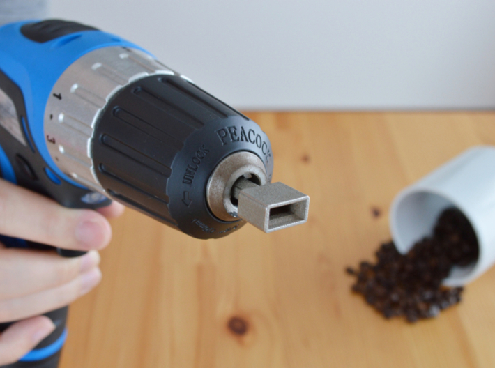 Coffee Grinder Bit For Drill Driver CDS-L 3d printed Set image (Drill chuck)