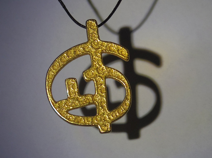 Zoran's Equation Pendant 3d printed Gold plated Matte