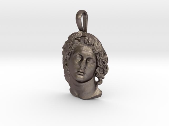 Steel Alexander as the sun god Helios, pendant 3d printed