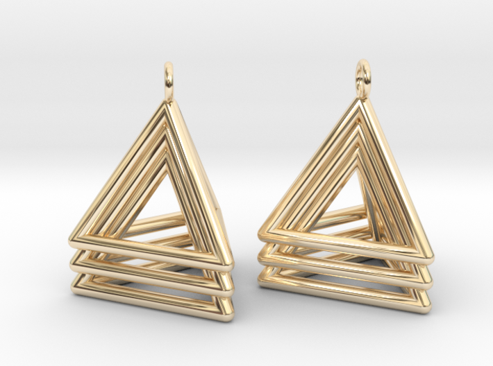 Pyramid triangle earrings type 5 3d printed