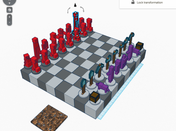 Minecraft Chess Set Contest 3d printed This was a screenshot from tinkercad