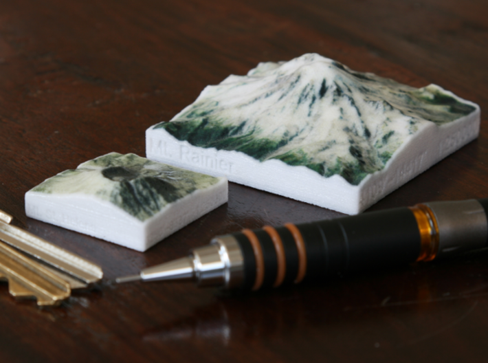 Mt. St. Helens, Wash., USA, 1:250000 Explorer 3d printed Photo of Mt. Rainier and Mt. St. Helens at 1:250000