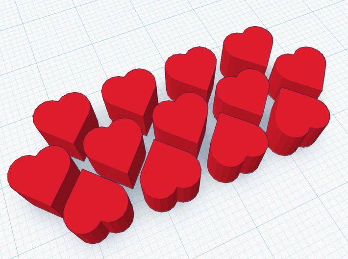 Love Letter ~ Tokens of Affection 3d printed 13 Finely crafted Tokens of Affection for use in Love Letter