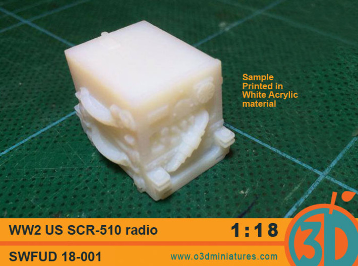 WW2 US radio SCR - 510 1/18 scale  SWFUD-18-001 3d printed sample print in white acrylic material