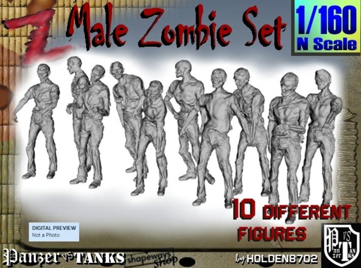 1-160 Male Zombie Set 3d printed