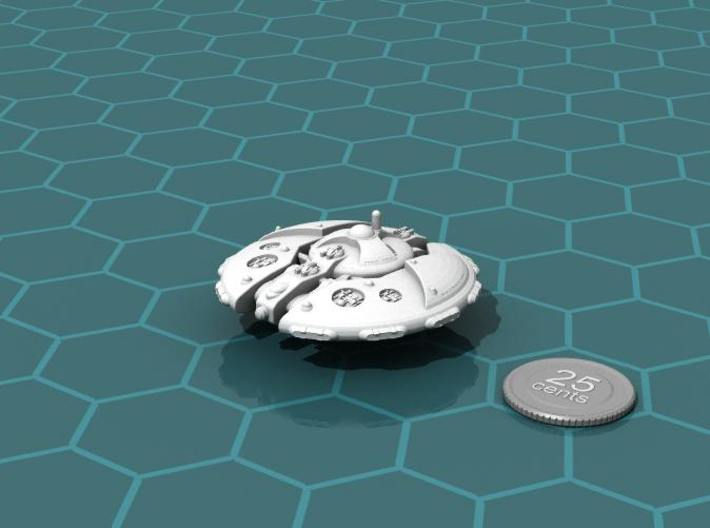 Martian Overlord class Battleship 3d printed Render of the model, with a virtual quarter for scale.