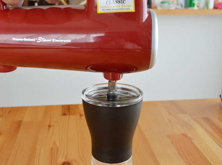 NEW! Coffee Grinder Bit For Hand Mixer CHP-A1RE 3d printed Using Image(With Hario Coffee Mill Slim Grinder)
