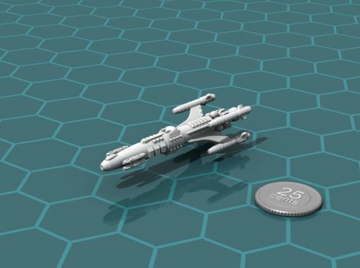Privateer Impala Class Cruiser 3d printed Render of the model, with a virtual quarter for scale.