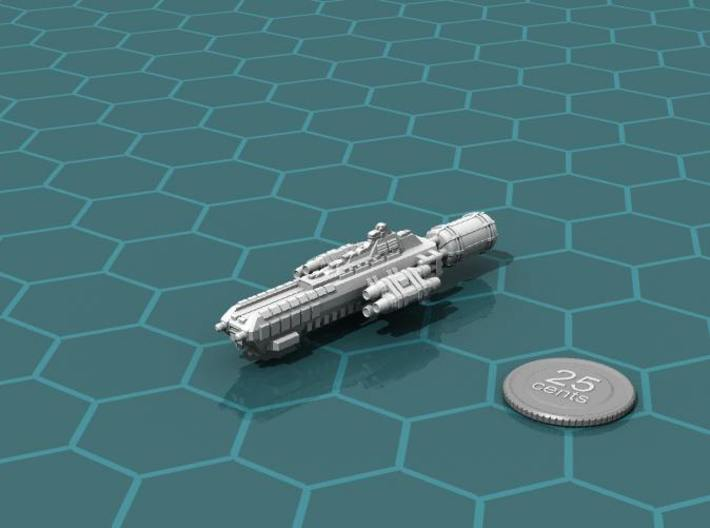 Jovian Callisto class Heavy Carrier 3d printed Render of the model, with a virtual quarter for scale.