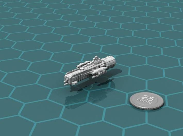 Jovian Lanze class Strike Carrier 3d printed Render of the model, with a virtual quarter for scale.