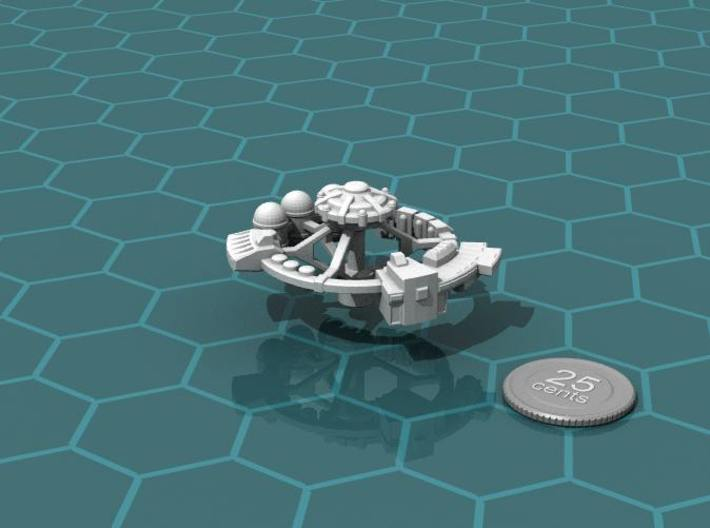Orbital Factory 3d printed Render of the model, plus a virtual quarter for scale.
