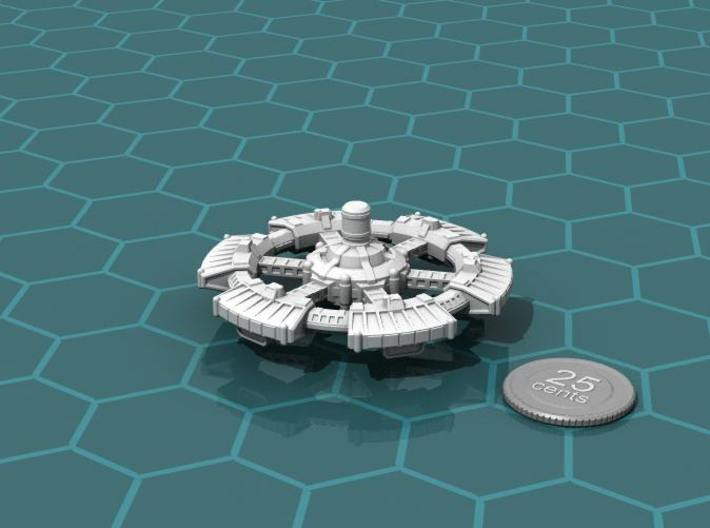Orbital High Port 3d printed Render of the model, plus a virtual quarter for scale.