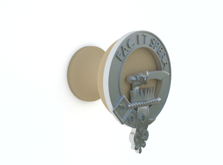 Clan Matheson Plaque 3d printed Showing attached to wooden knob base (not supplied)