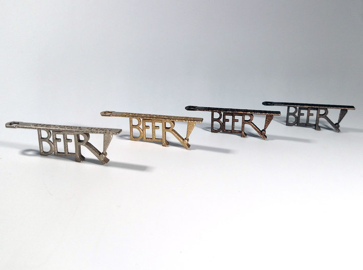 """KCMO Bottle Opener Keychain - Kansas City 3d printed Left to Right: Nickel Plated, """"Stainless"""" (comes out golden), Polished Bronze, Polished Gray"""