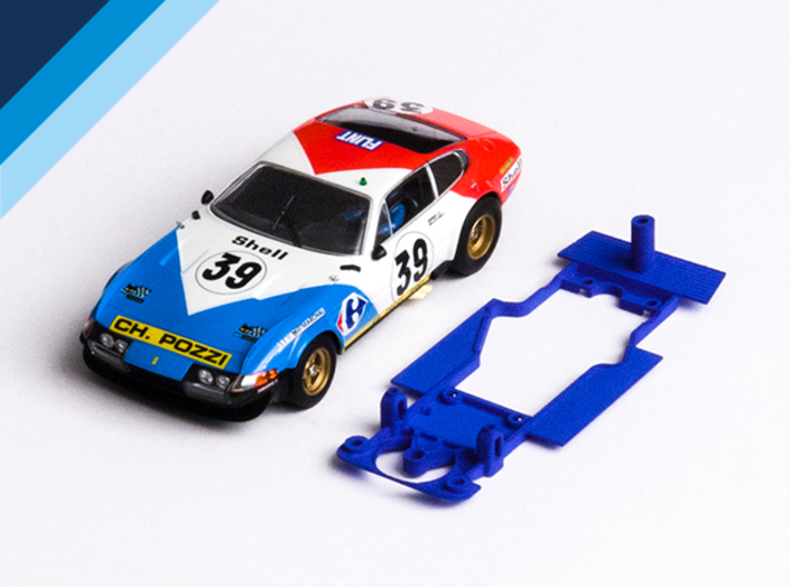 1/32 Fly Ferrari 365 GTB/4 Chassis for Slot.it pod 3d printed Chassis compatible with Fly Ferrari 365 GTB/4 Daytona body (not included)