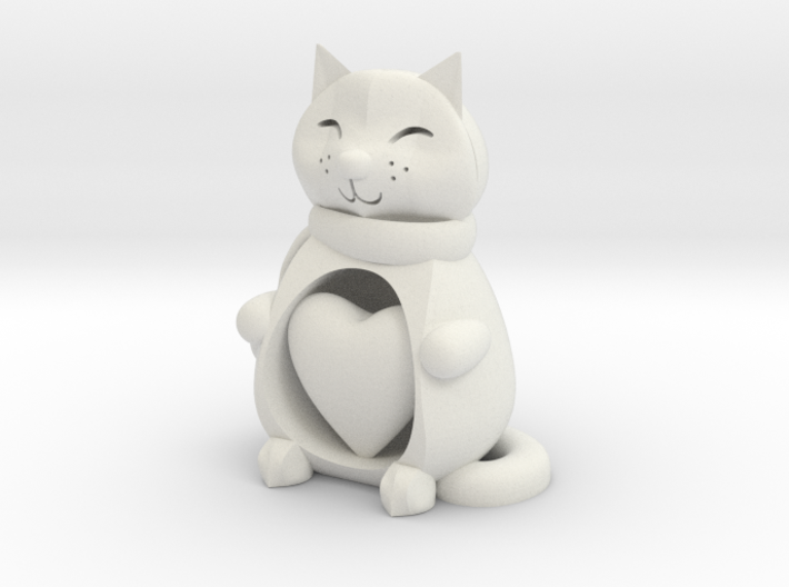 Cat with Heart 3d printed