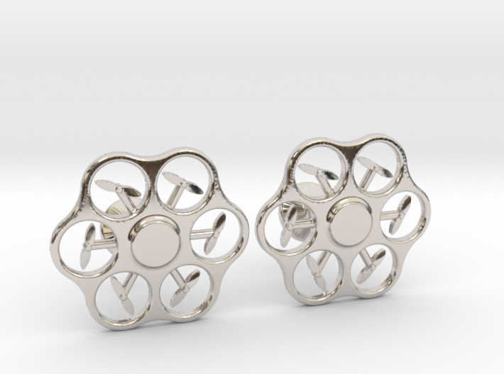 Hex Drone Cufflinks 3d printed