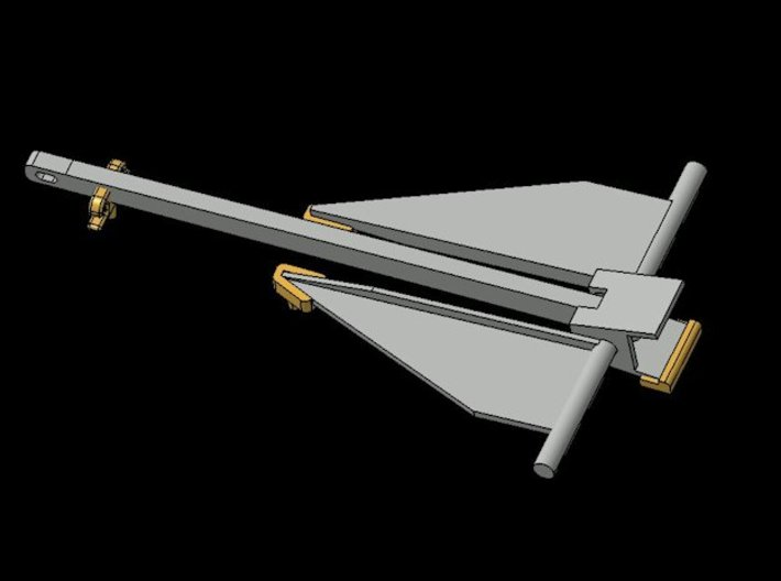 B15F Danforth Anchor 3d printed Render, showing deck clips, corrected shape.