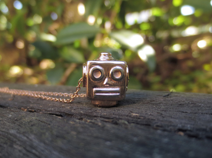 Reversible retro robot head pendant 3d printed Photo of side two