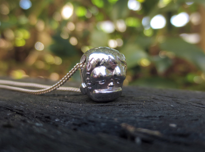 Reversible Frankenstein head pendant 3d printed Photo of side two