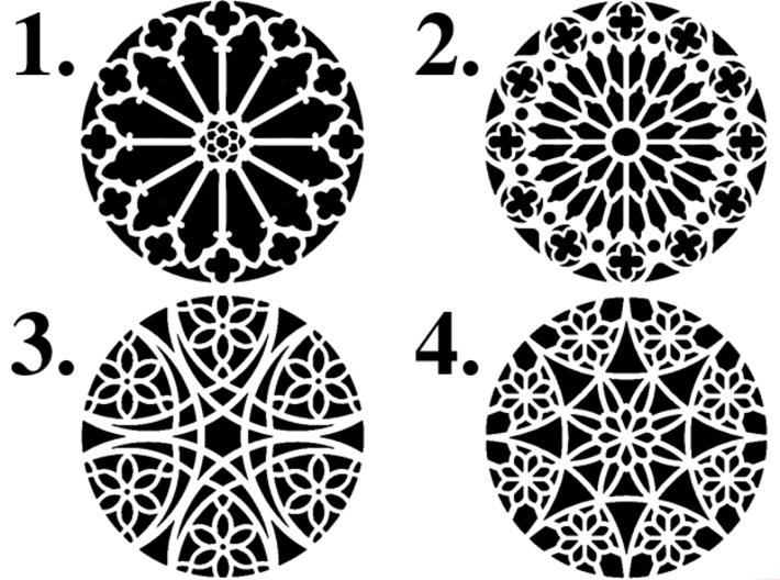 "4"" Custom Rose Window Coaster 3d printed Choose from designs 1-4"