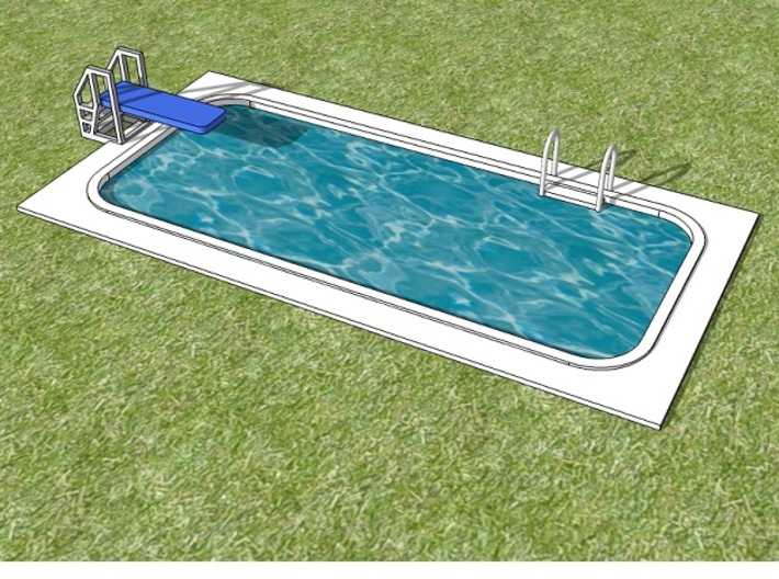15mm Swimming Pool (Rectangular) 3d printed