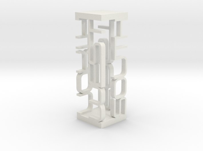 Compass Typographic Sculpture 3d printed