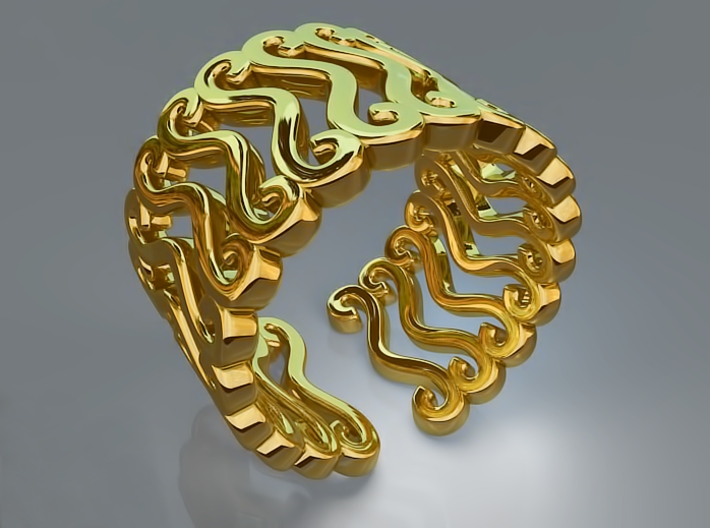 Curly ring 3d printed Curly ring (Gold)