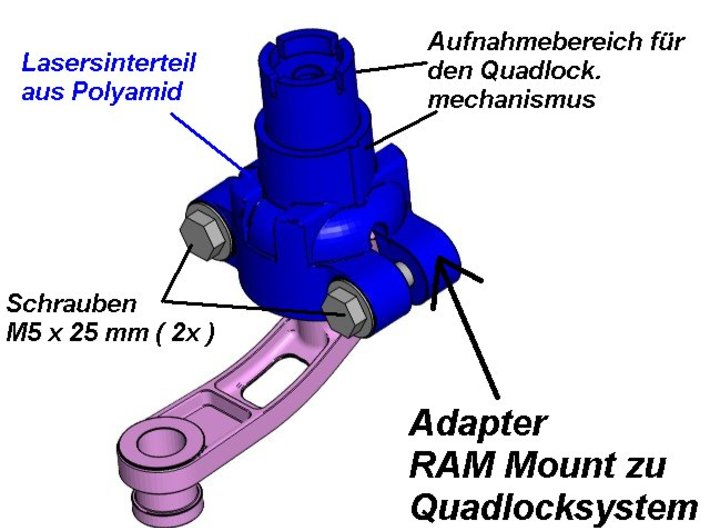 Adapter Quadlock zu RAM Mount 3d printed