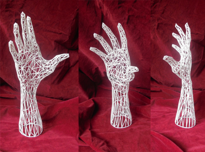 Wireframe hand - Jewelry Display Model 3d printed