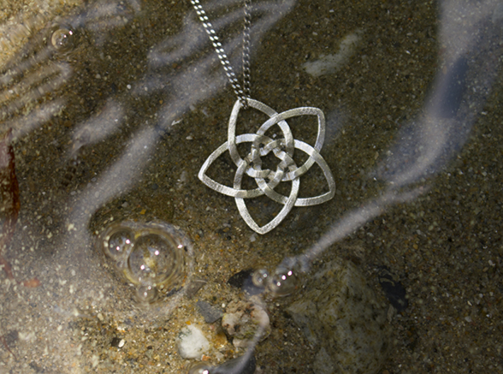 Venus flower small 3d printed Raw Silver