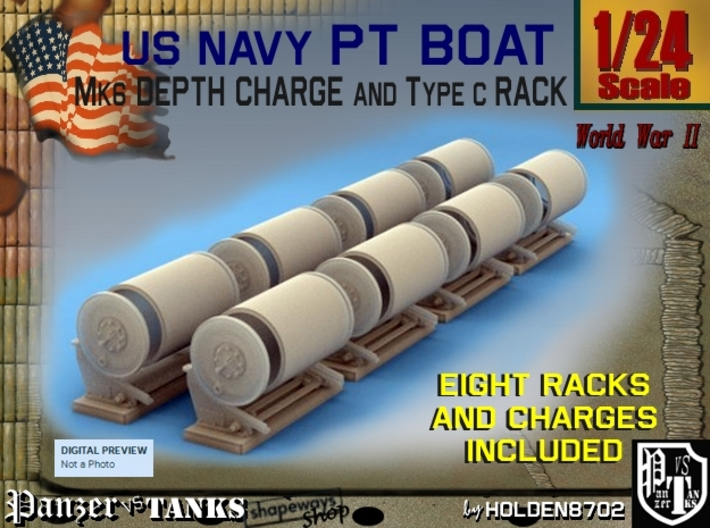 1-24 PT Boat Depth Charge W Rack Set 3 3d printed