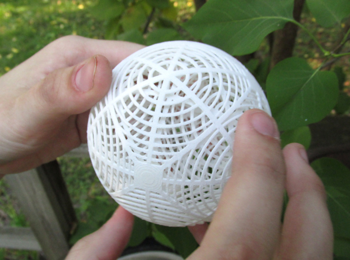 Moiré Sphere 3d printed In White Strong & Flexible