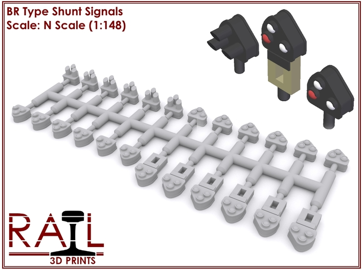 N Scale - BR Type Shunt Signals 3d printed Render showing the model as well as an impression of how they'd look painted.