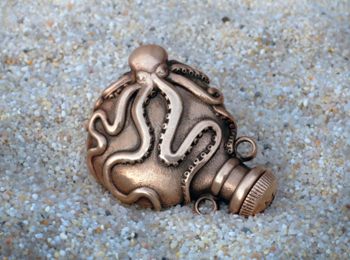 Small Octopus Vial Pendant 3d printed oxidized manually