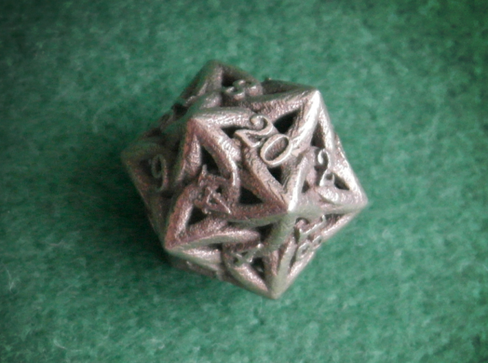 Celtic D20 3d printed Printed in Stainless Steel