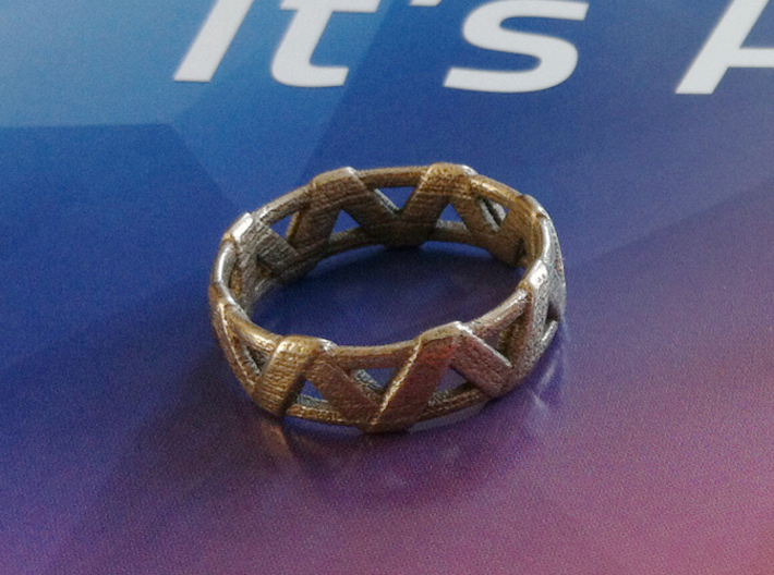 Weave Ring 3d printed Printed in Stainless Steel