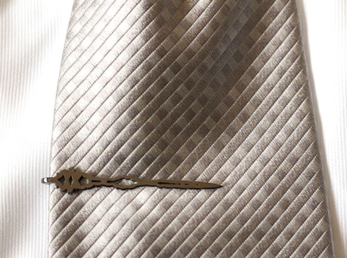 English I Love You TIE BAR Large 3d printed NOTE:  Image shows polished silver after patina