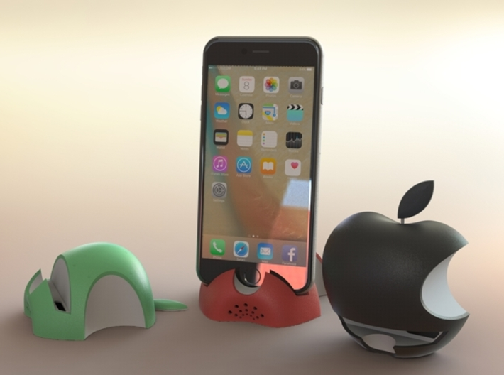 iPhone 6S/6S Plus Dock-Red 3d printed 3D Rendered images of iPhone 6S Plus with Green,Red & Black colour dock