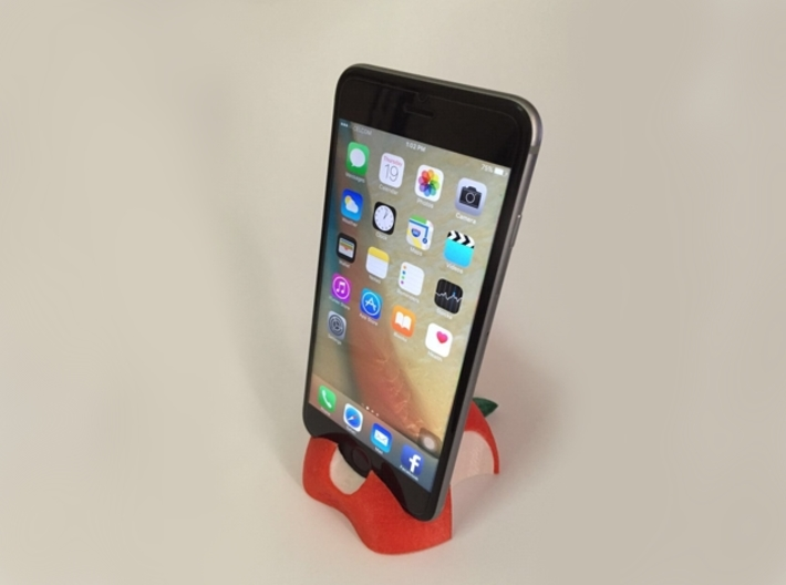 iPhone 6S/6S Plus Dock-Red 3d printed Photo of iPhone 6S with casing dock on PLA printed product.
