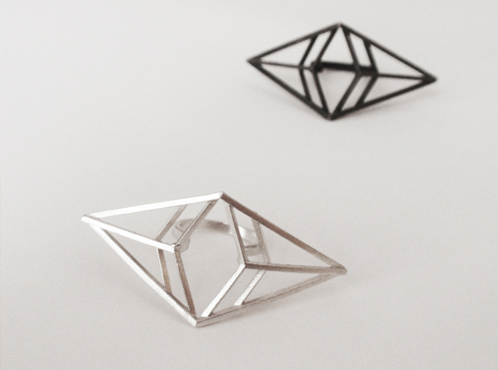 Statement geometric rhombus ring 3d printed Raw Silver (sterling silver, 925) and Matte Black Steel