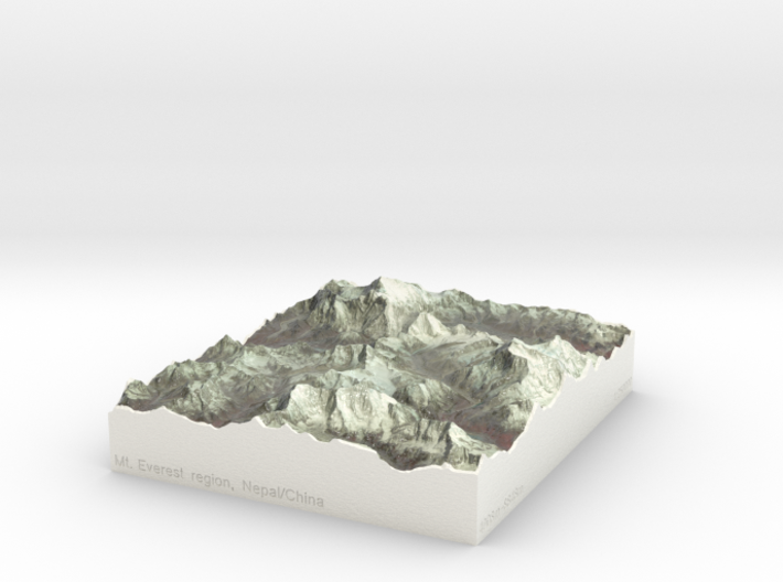 Mt. Everest region, China/Nepal, 1:250000 3d printed