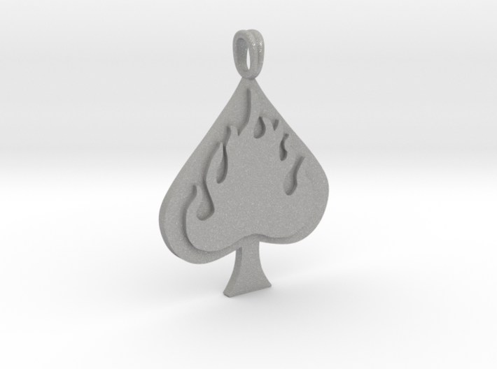 Flaming SPADE Jewelry Symbol Lucky Pendant 3d printed
