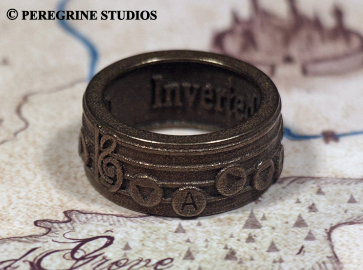Ring - Inverted Song of Time 3d printed Polished Bronze Steel